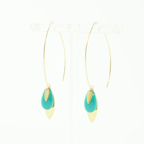 boucle d'oreille email doré lea turquoise sur fond blanc