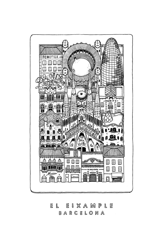 Carte Eixample Barcelone.Carte Postale El Eixample Quartie De Barcelone Chez Paulette
