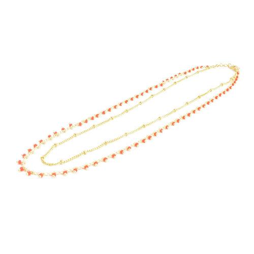 collier double chaine en acier inoxydable or rouge sur fond blanc