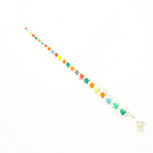 bracelet double chaine en acier inoxydable argenté multicolore