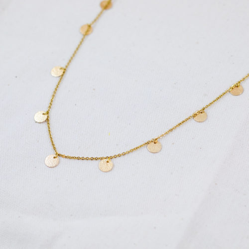 collier acier inoxydable doré annabelle avec pampille ronde