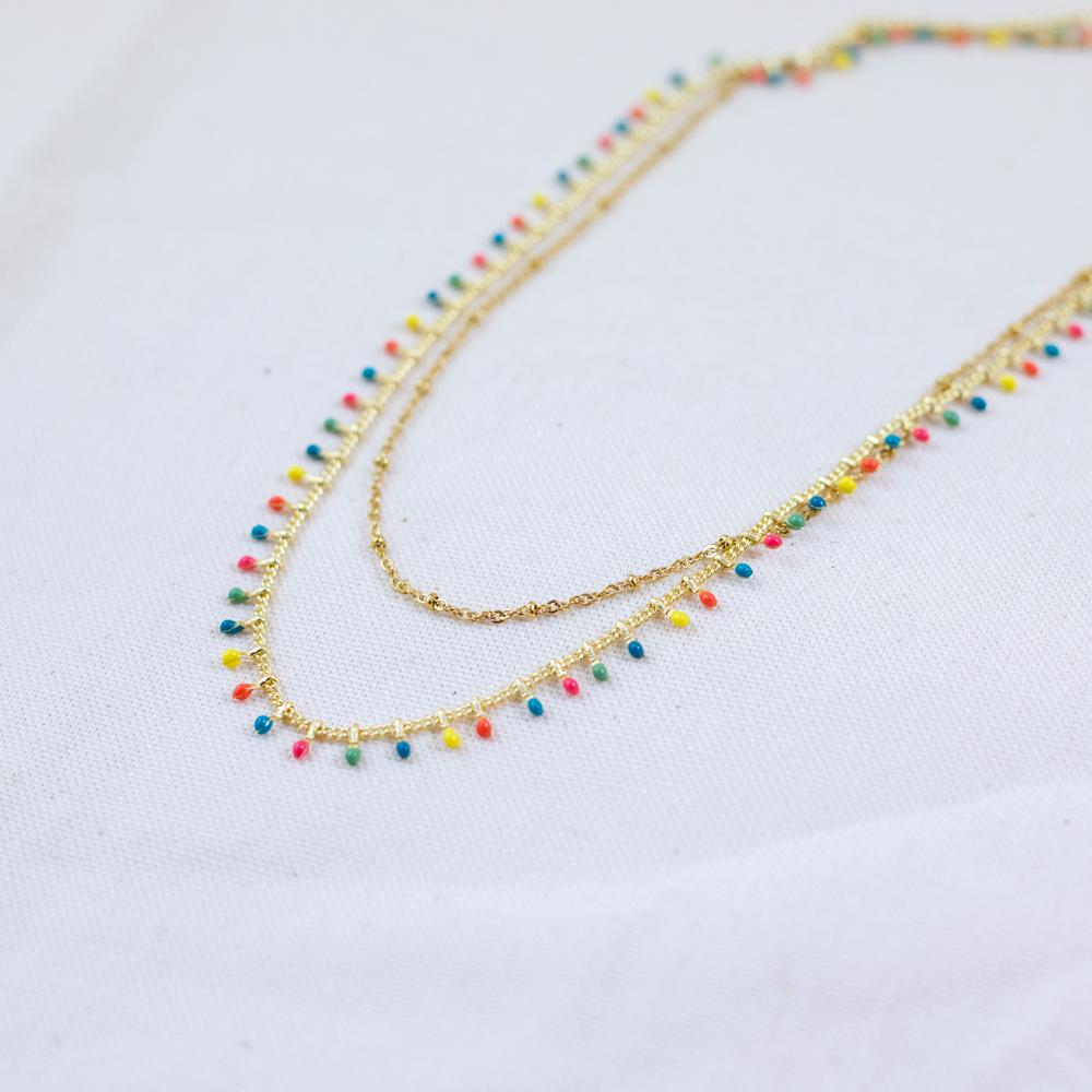 collier double chaine en acier inoxydable multicolore