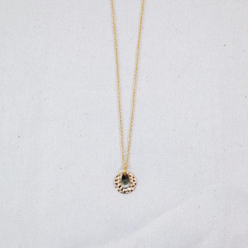 collier acier inoxydable mdoré mariel formé d'une pampille ronde