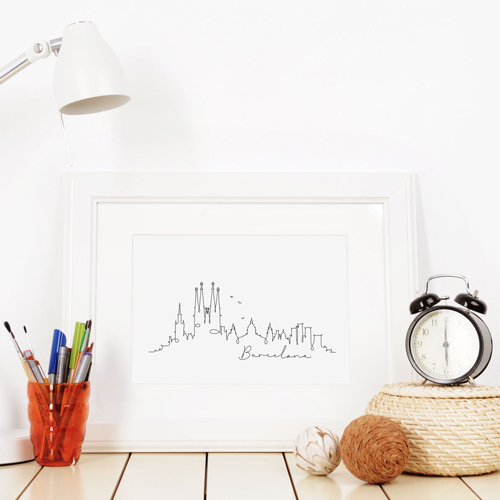 skyline barcelona noir et blanc