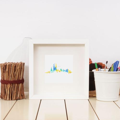 carte postale skyline des monuments de barcelone en aquarelle coloré dans un cadre blanc